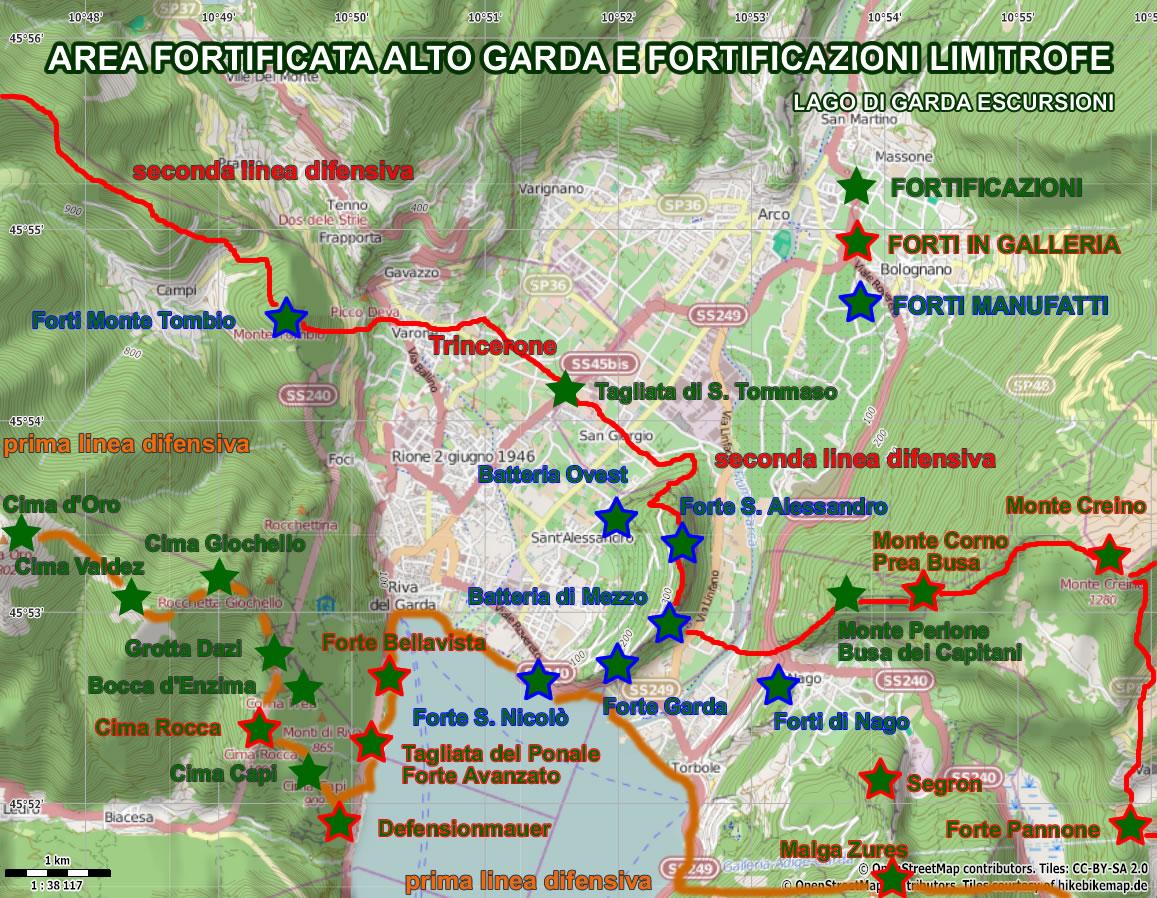 Cartina Topografica Lago Di Garda.Percorsi Storici Prima Guerra Mondiale Settore Fortificato Di Riva D G Lago Di Garda Escursioni