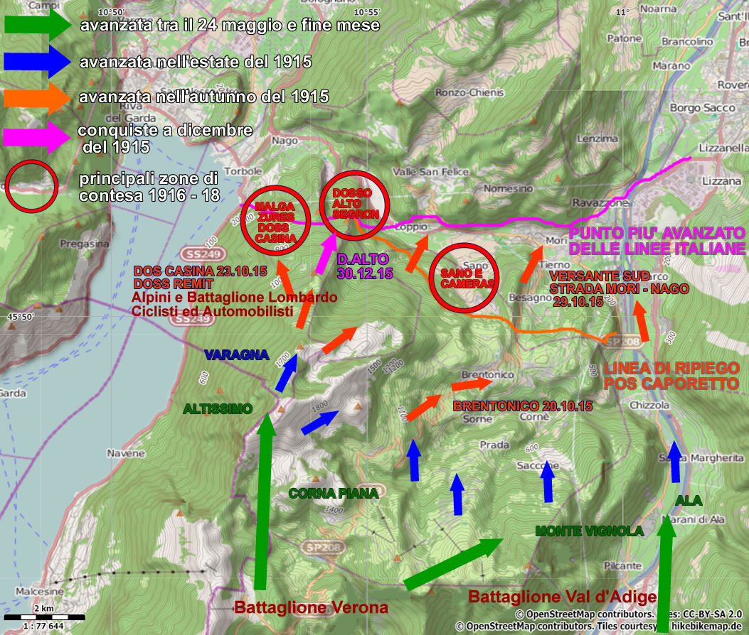 Cartina D Italia 1915.Storia Prima Guerra Mondiale Monte Baldo E Val Di Gresta Lago Di Garda Escursioni